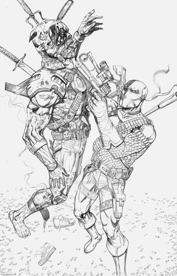Deathstroke Vs Deadpool Coloring Pages Coloring Home