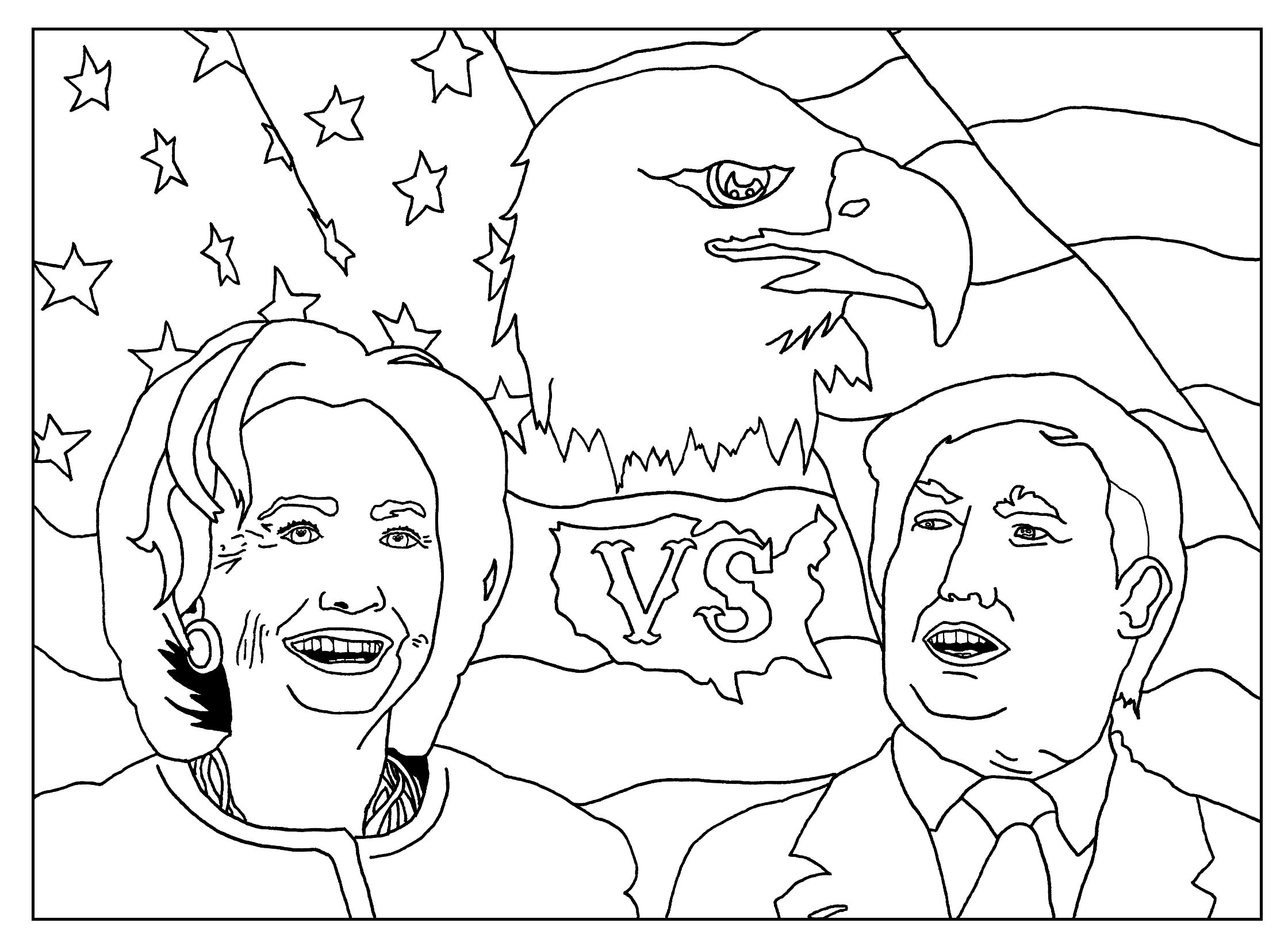 Free coloring page coloring-adult-us-presidential-elections-2016 ...