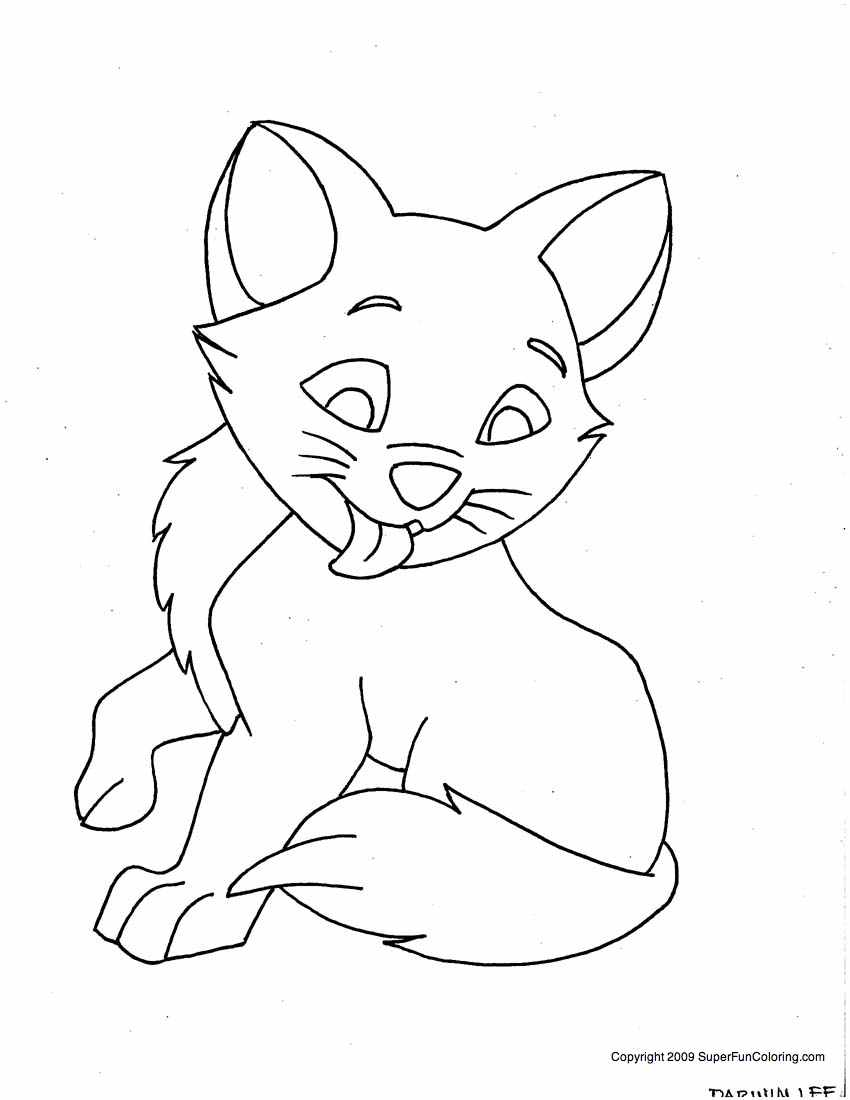 Kitten Outline Coloring Page - Coloring Home