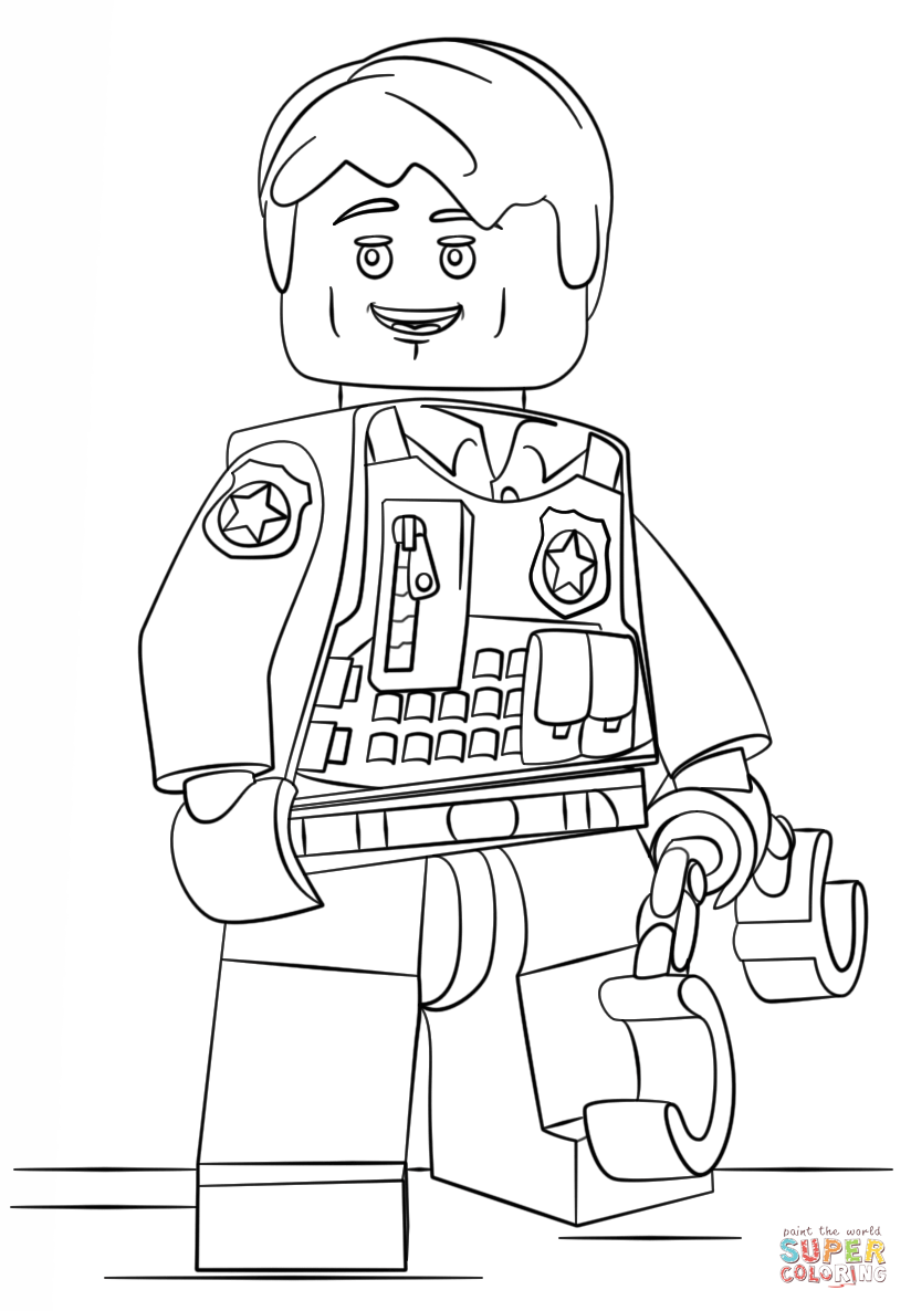 Lego Undercover Police ficer coloring page