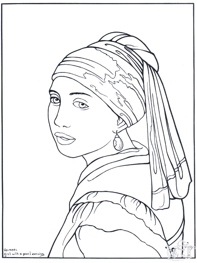 Girl With A Pearl Earring By Vermeer Coloring Page With The Pearl Earring Coloring Page Printable