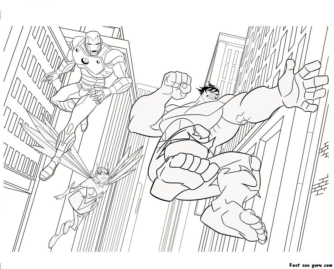 Iron Man Hulk Coloring Pages Printable Kids