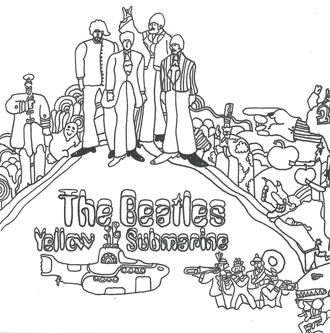 The Beatles Yellow Submarine Coloring Page