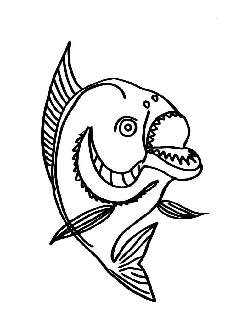 Piranha Fish Page Coloring Pages