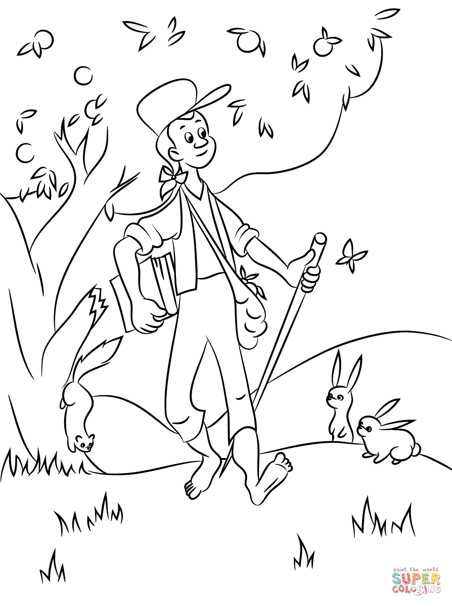 Free printable johnny appleseed coloring pages coloring home 12 pics of johnny appleseed coloring pages printable johnny publicscrutiny Images