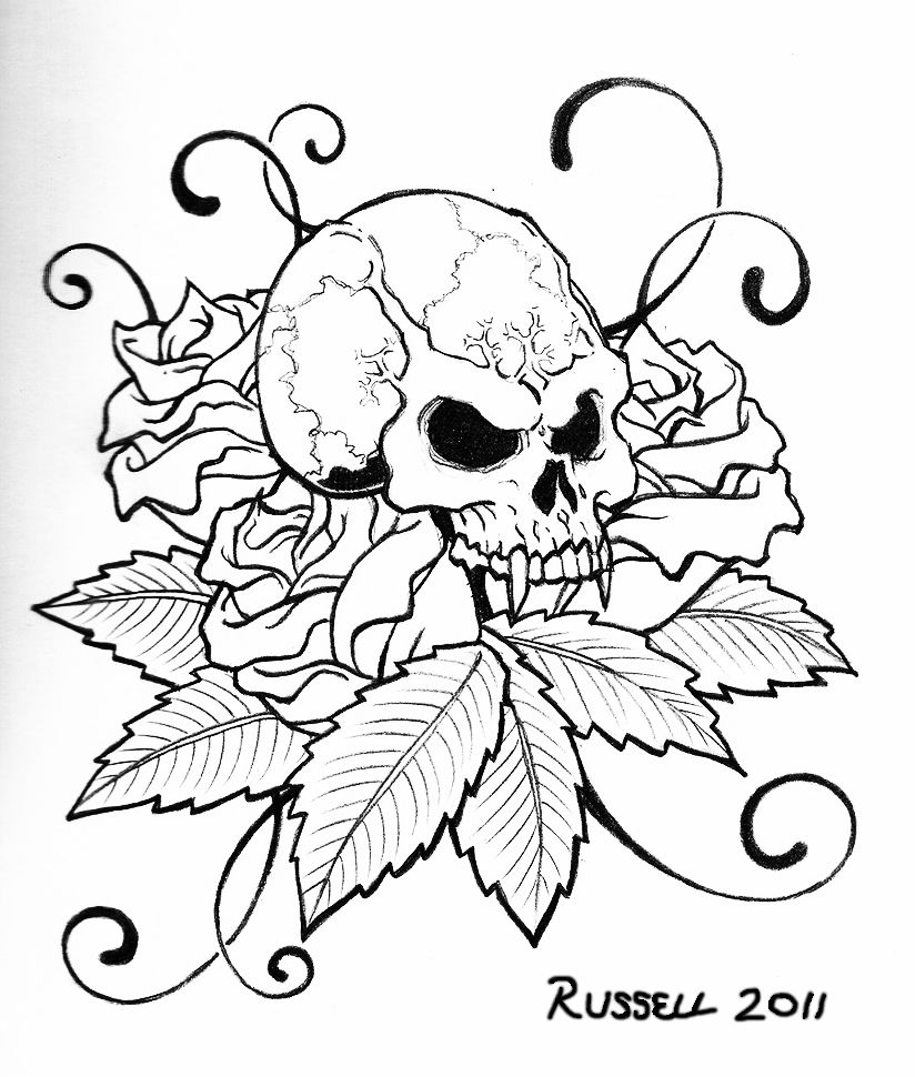 Skull Tattoo Coloring Pages   Coloring Home