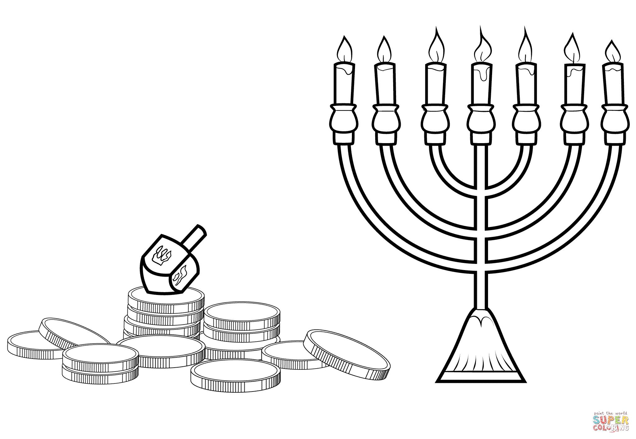 Hanukkah Menorah, Dreidel And Gelt Coloring Page | Free ...