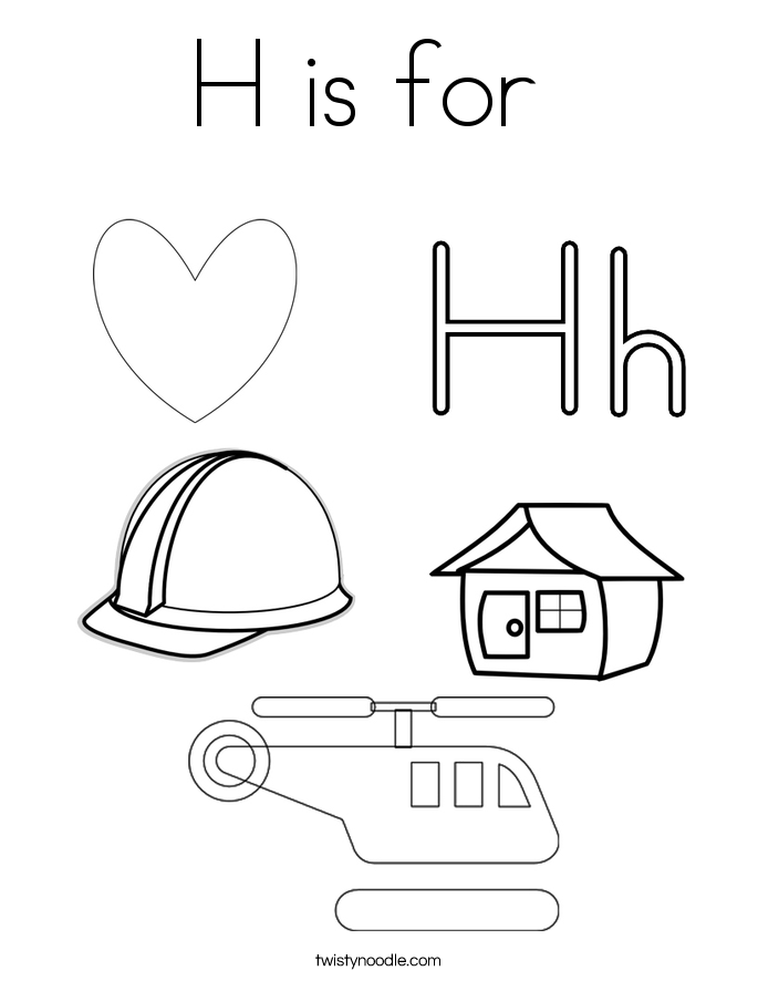 things that start with the letter h coloring pages