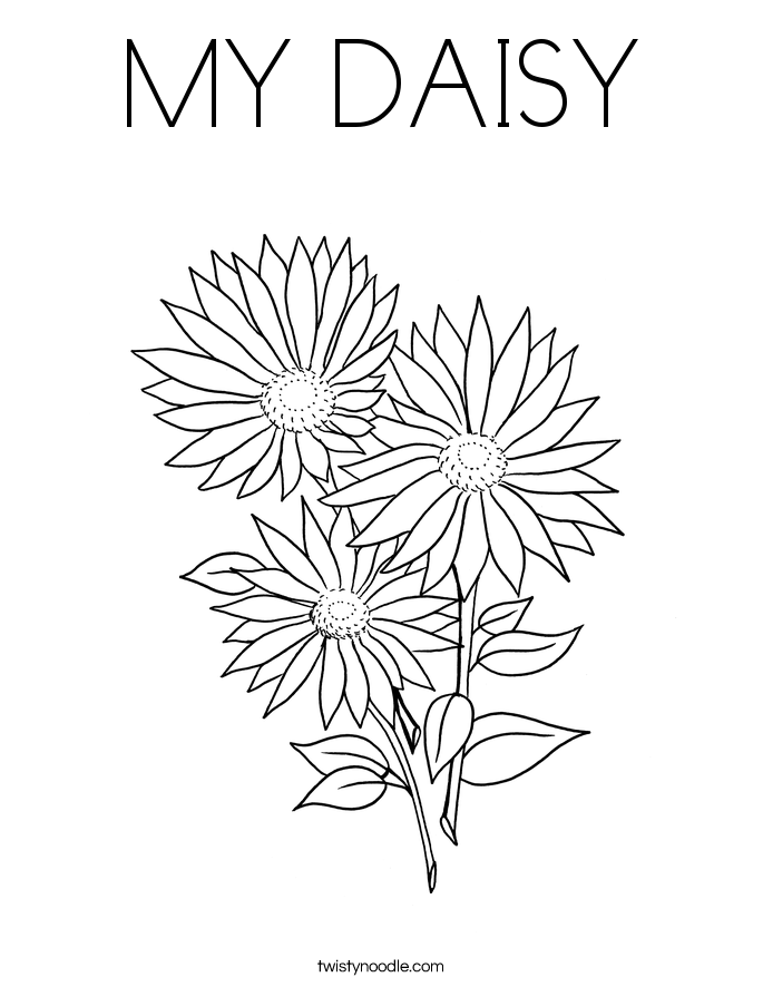 medium daisy flower coloring pages - photo#21