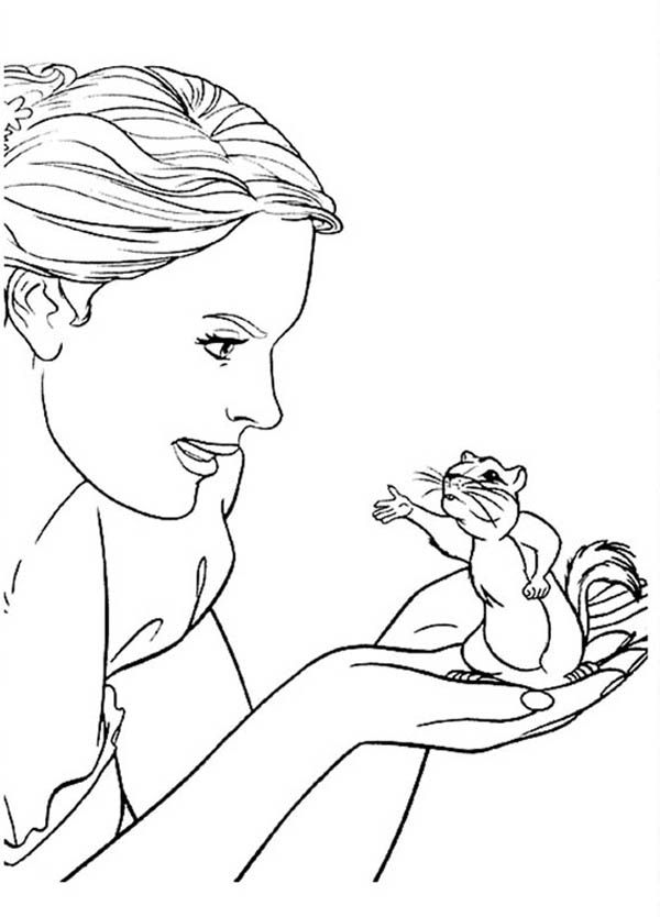 Giselle Talking To Pip In Enchanted Coloring Pages: Giselle ...