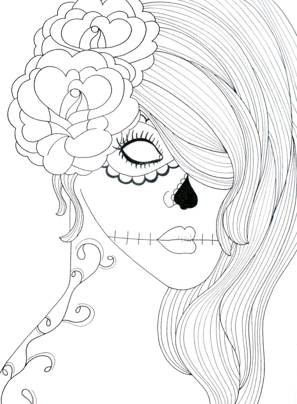 Skull Coloring Pages Girls Home