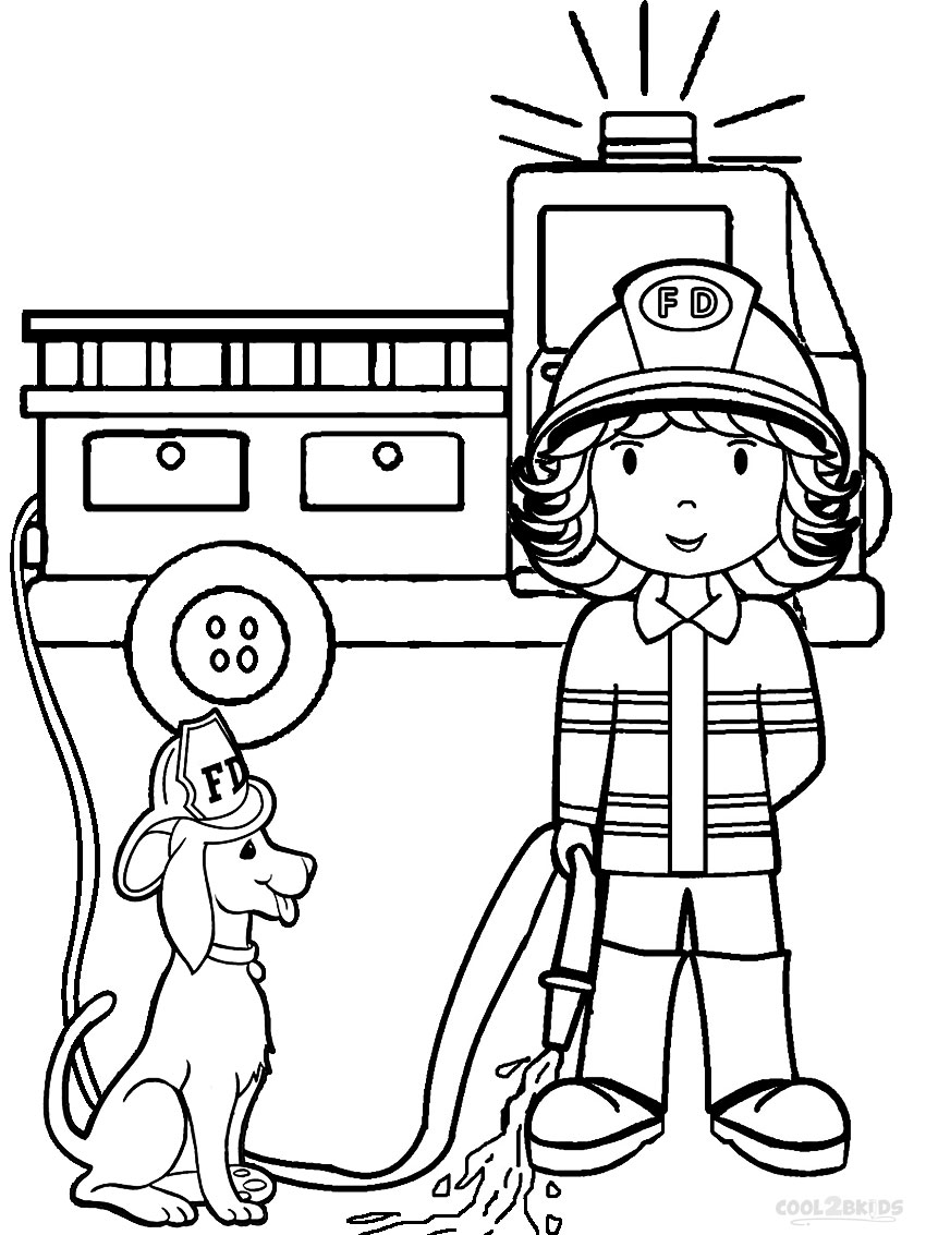 firefighter coloring pages preschool alphabet - photo#3