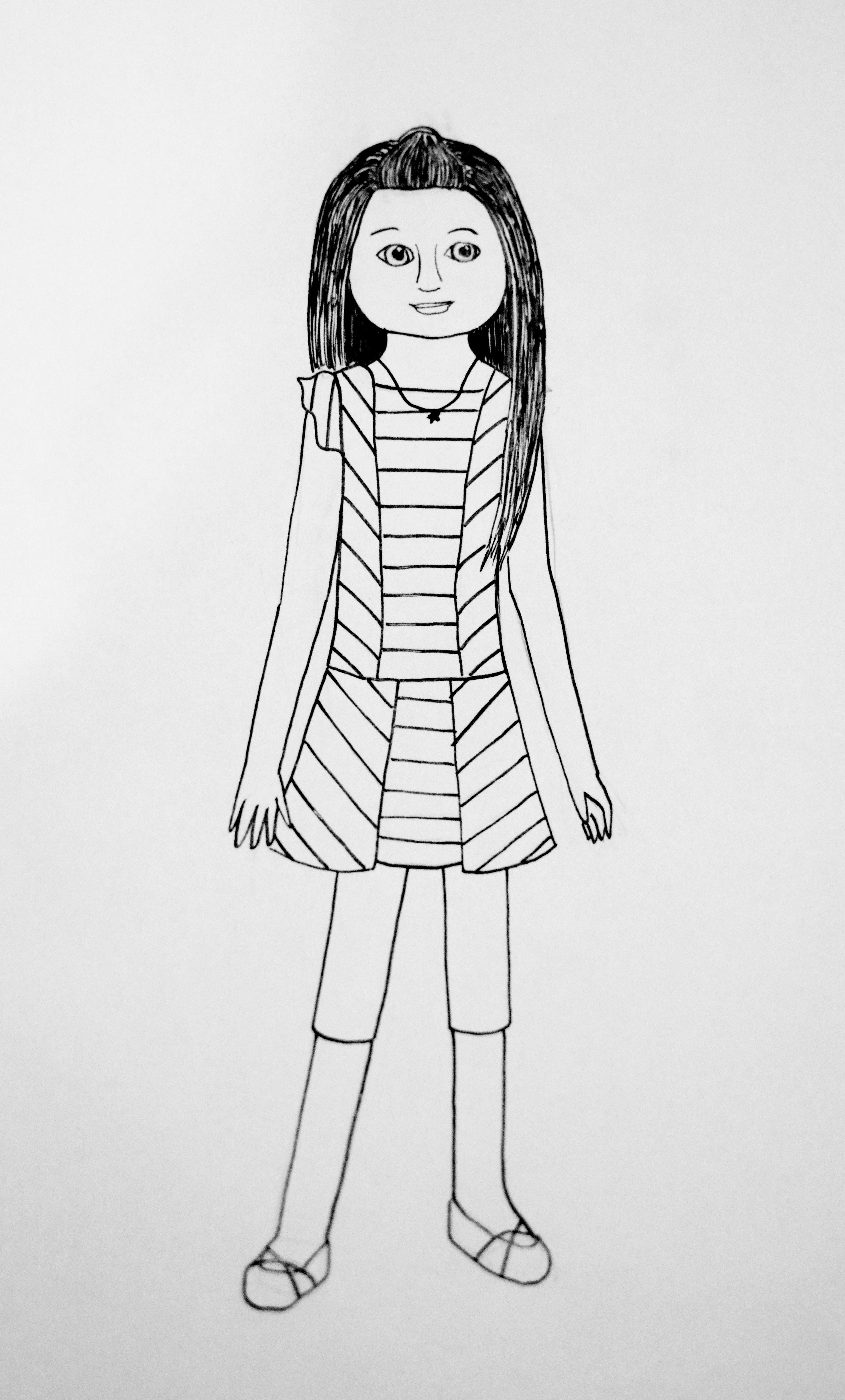 Girl With Doll Coloring Page  Coloring Home