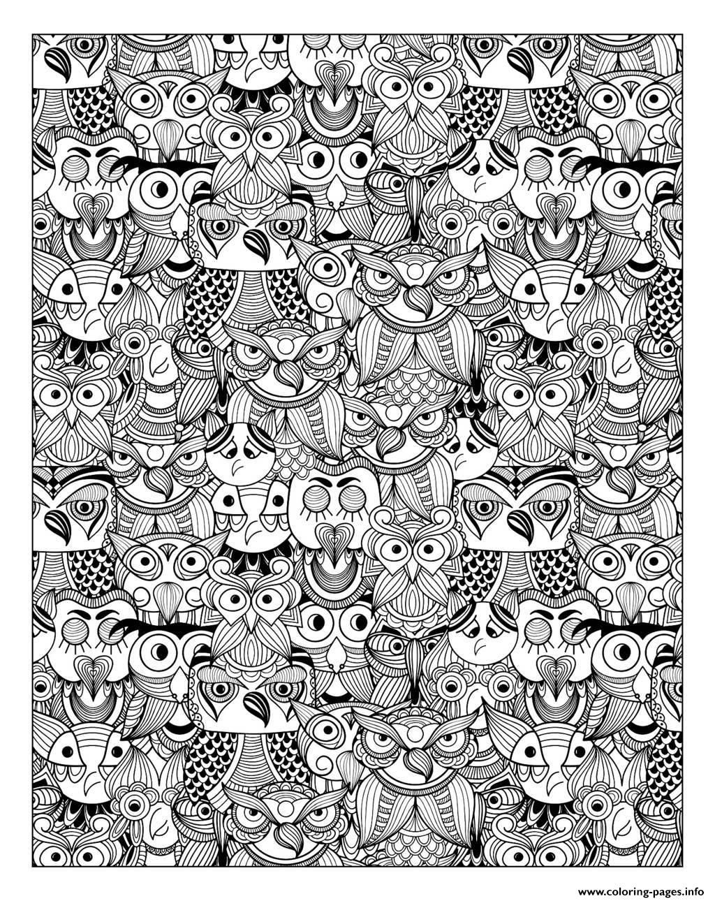 Print Adult Owls Coloring Pages Preview The Harry Potter