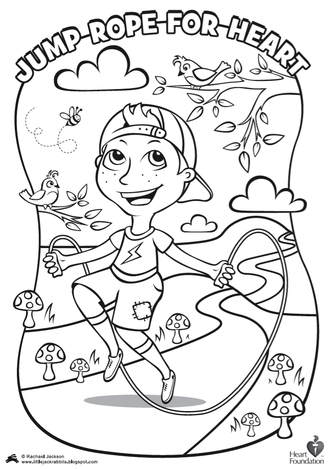 Jump Rope For Heart Coloring Pages