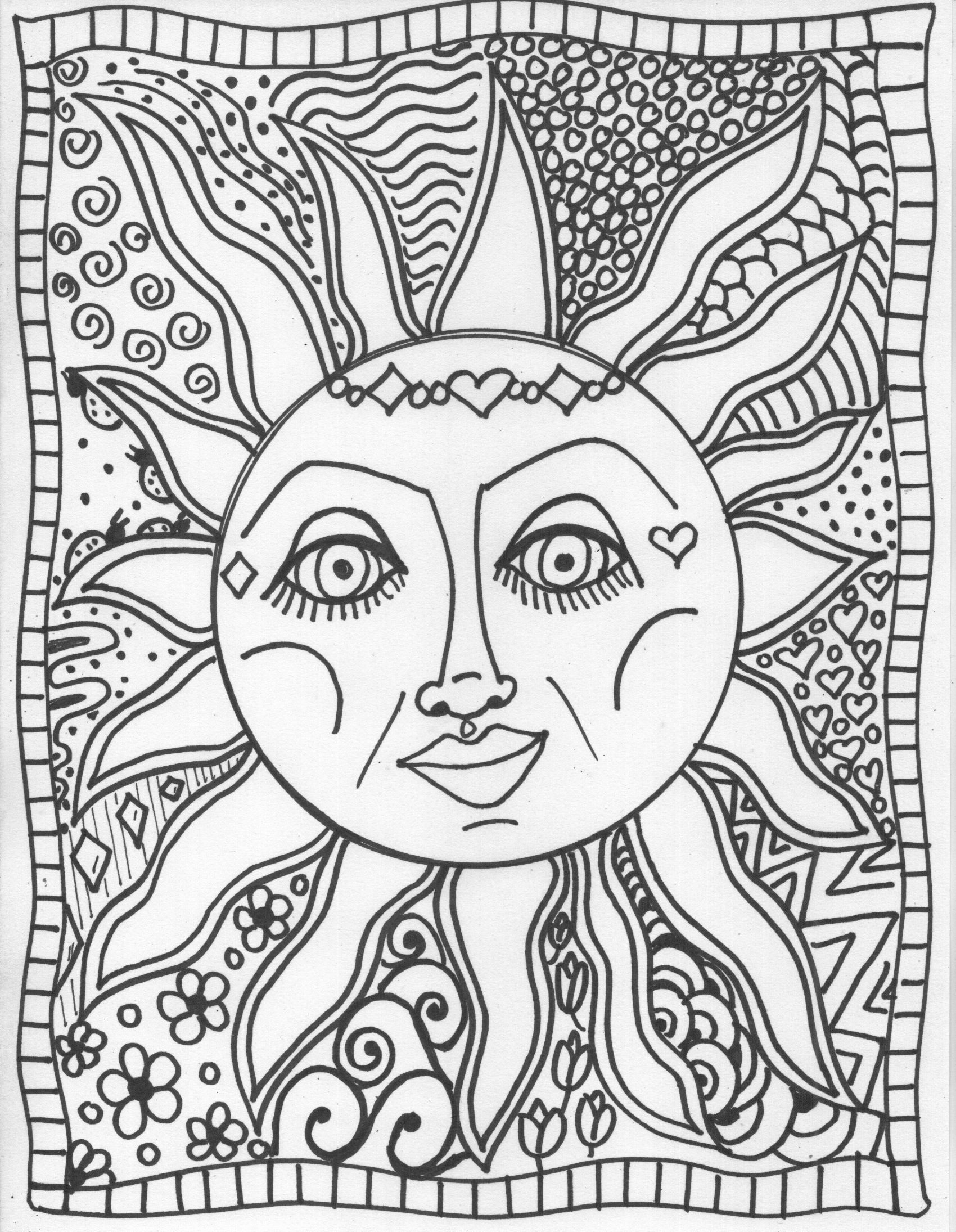 Best Photos of Sun Coloring Pages Adults - Sun and Moon Coloring ...