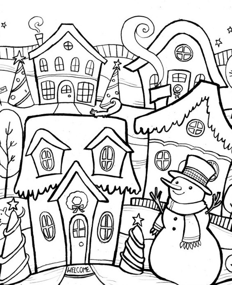 Scene Of Chirstmas Winter Coloring Pages | Winter Coloring pages ...