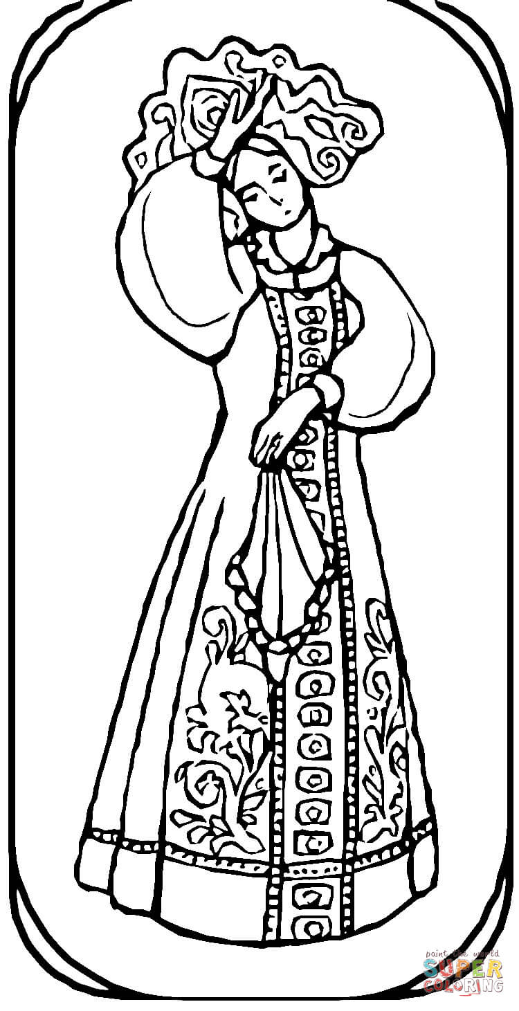 Girl From Russian Fairy Tale coloring page | Free Printable ...