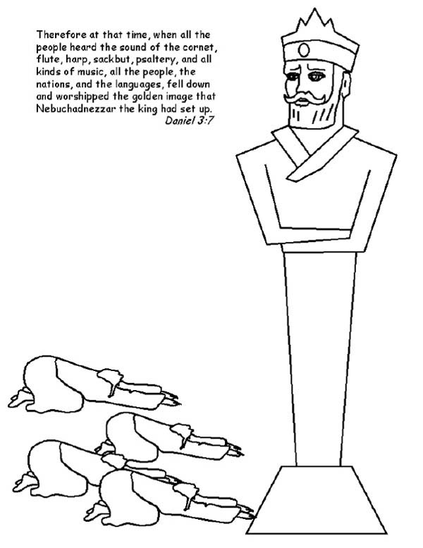 People Worship King Nebuchadnezzar Statue Coloring Pages : Coloring Sun