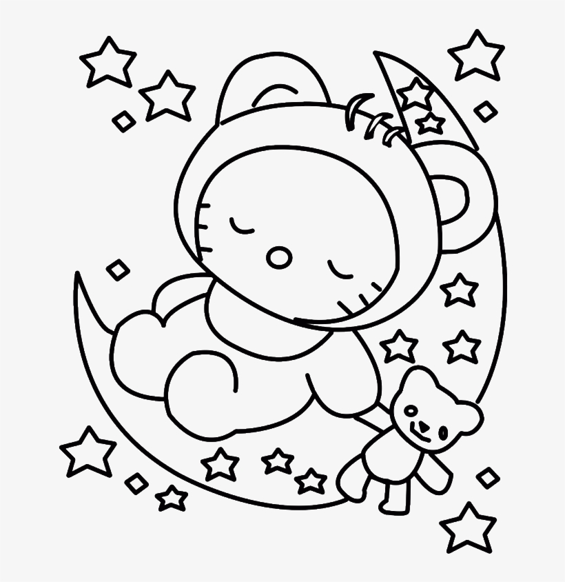 Hello Kitty Sleeping Colouring Pages - Baby Hello Kitty Coloring Pages -  700x893 PNG Download - PNGkit