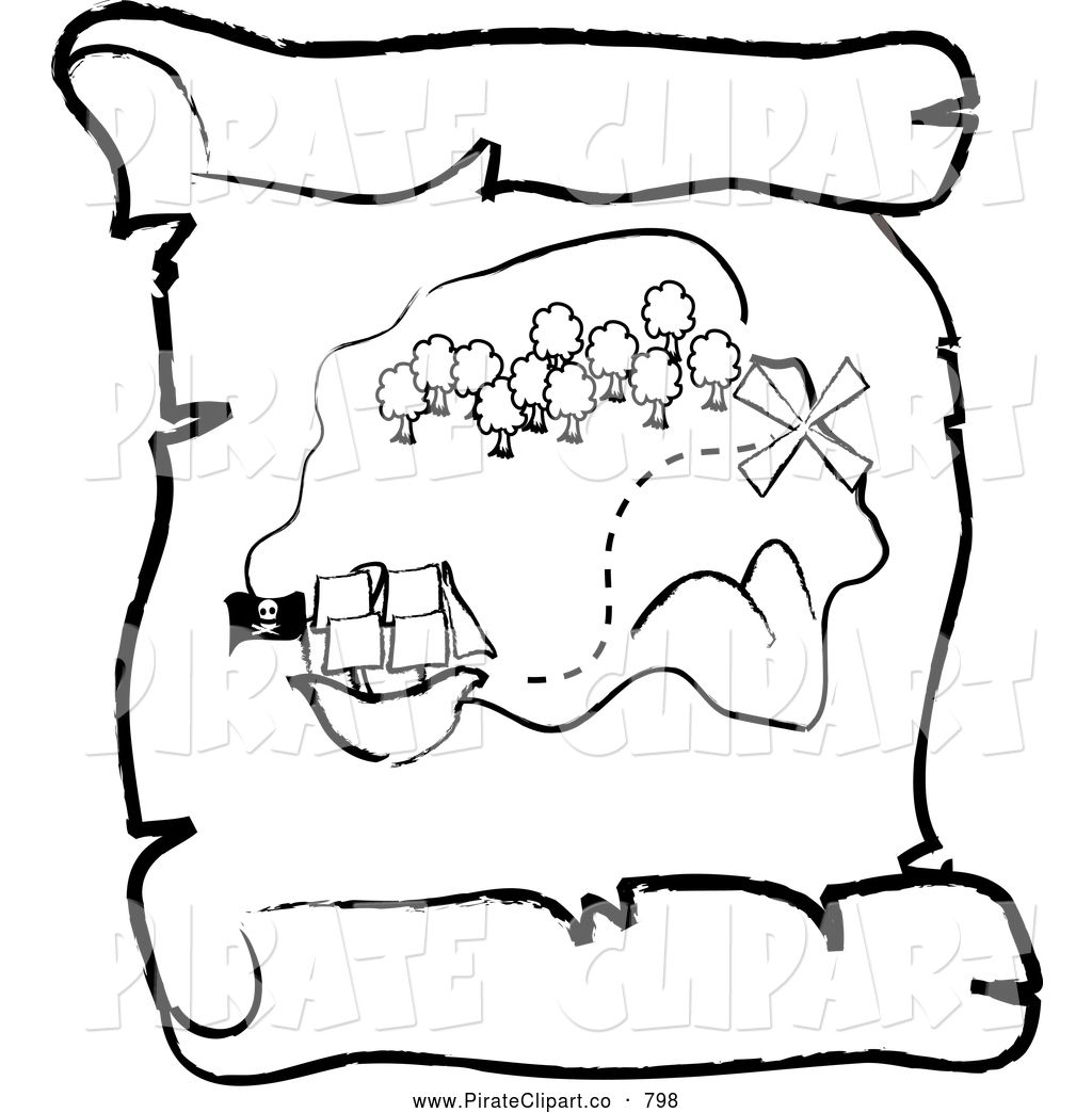 Pirate Treasure Map Coloring Pages Free Printable Earth Vector ...