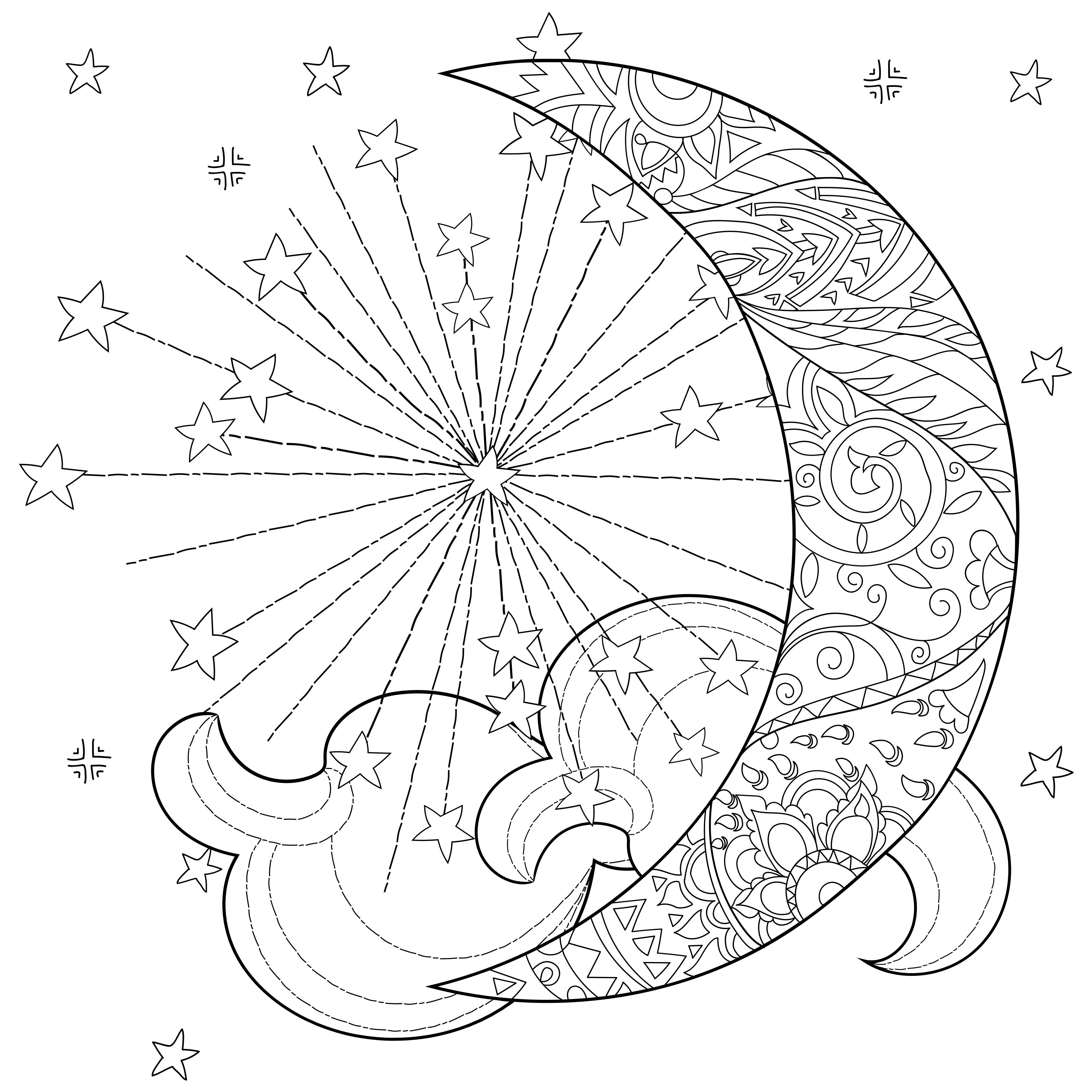 celestial sun moon coloring page (With images) | Moon coloring ...