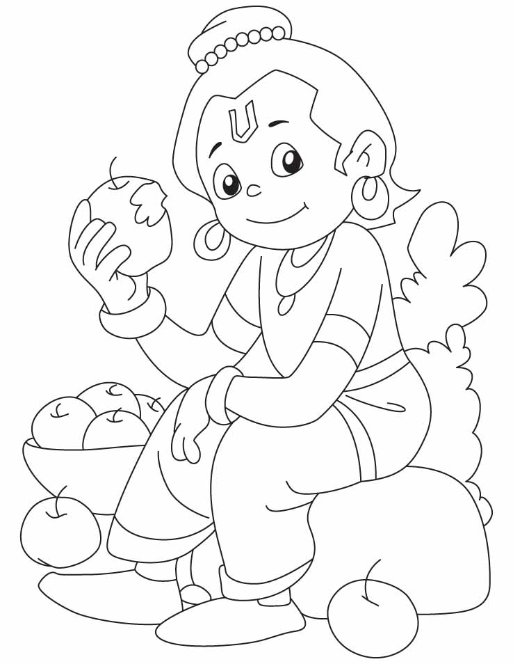 Krishna Coloring Page - Coloring Home