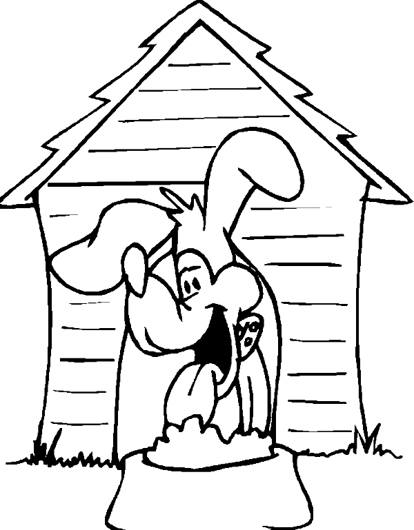 Dog house coloring for House pets coloring pages