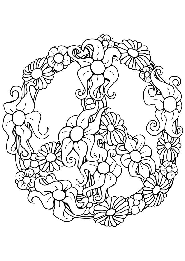 Free Printable Peace Sign Coloring Page - Coloring Home