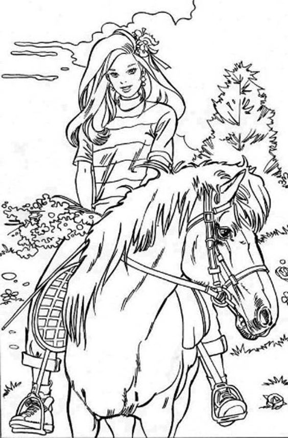 Barbie Doll Riding Horse Coloring Page M larbilder