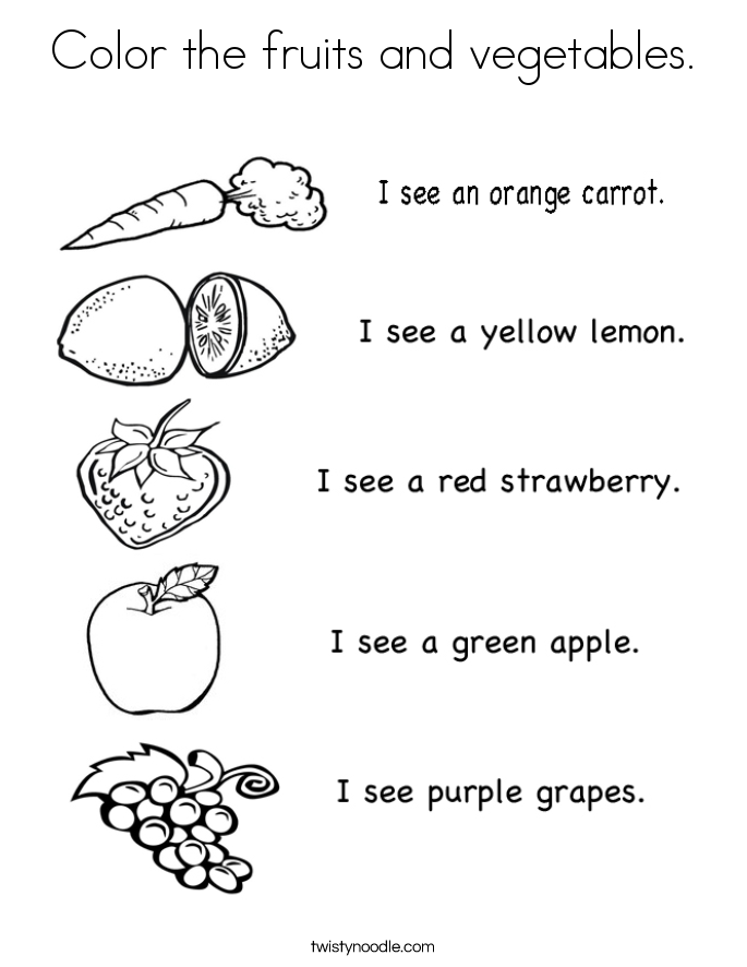 Vegetable Coloring Pages - Twisty Noodle