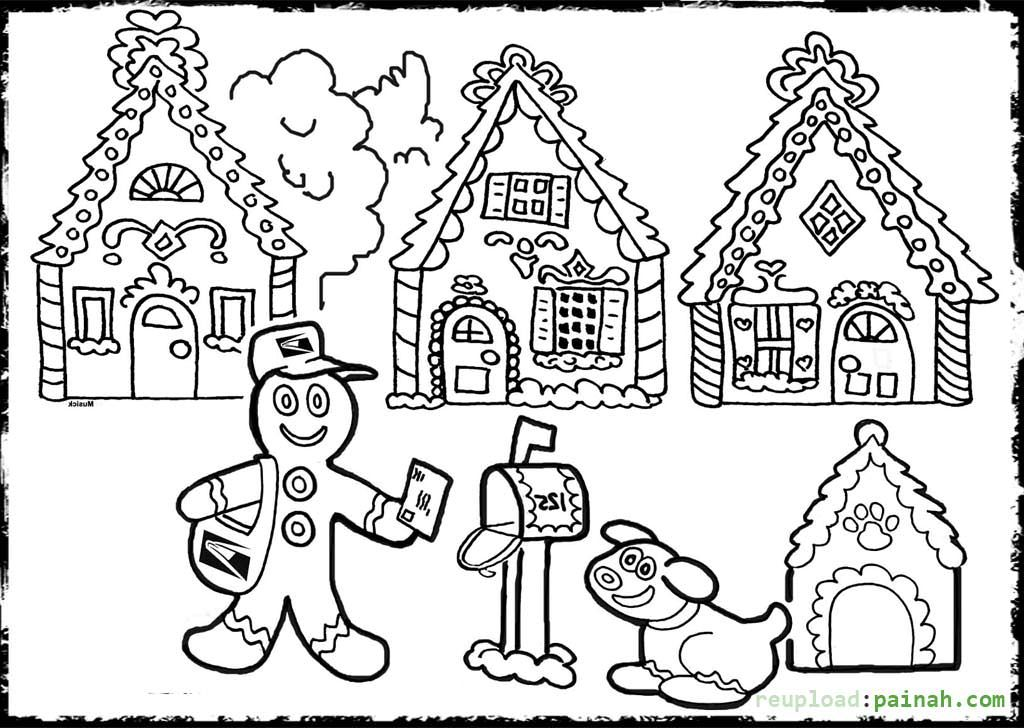 Gingerbread House Coloring Pages Kids Sketch Coloring Page