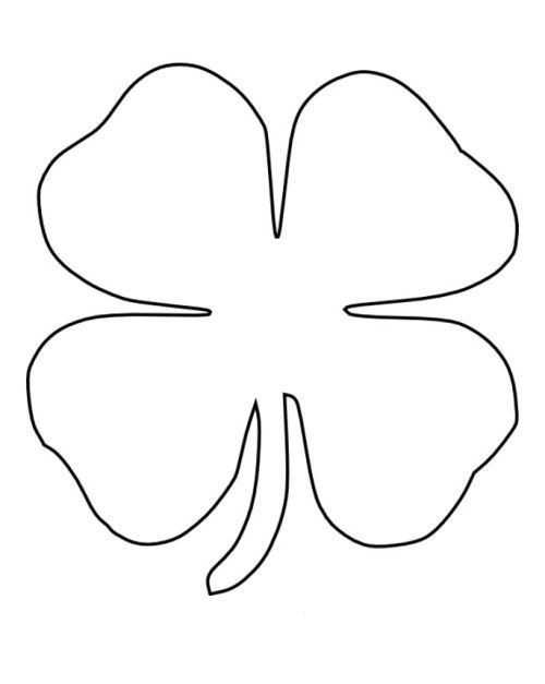 Four 4 Leaf Clover Coloring Page