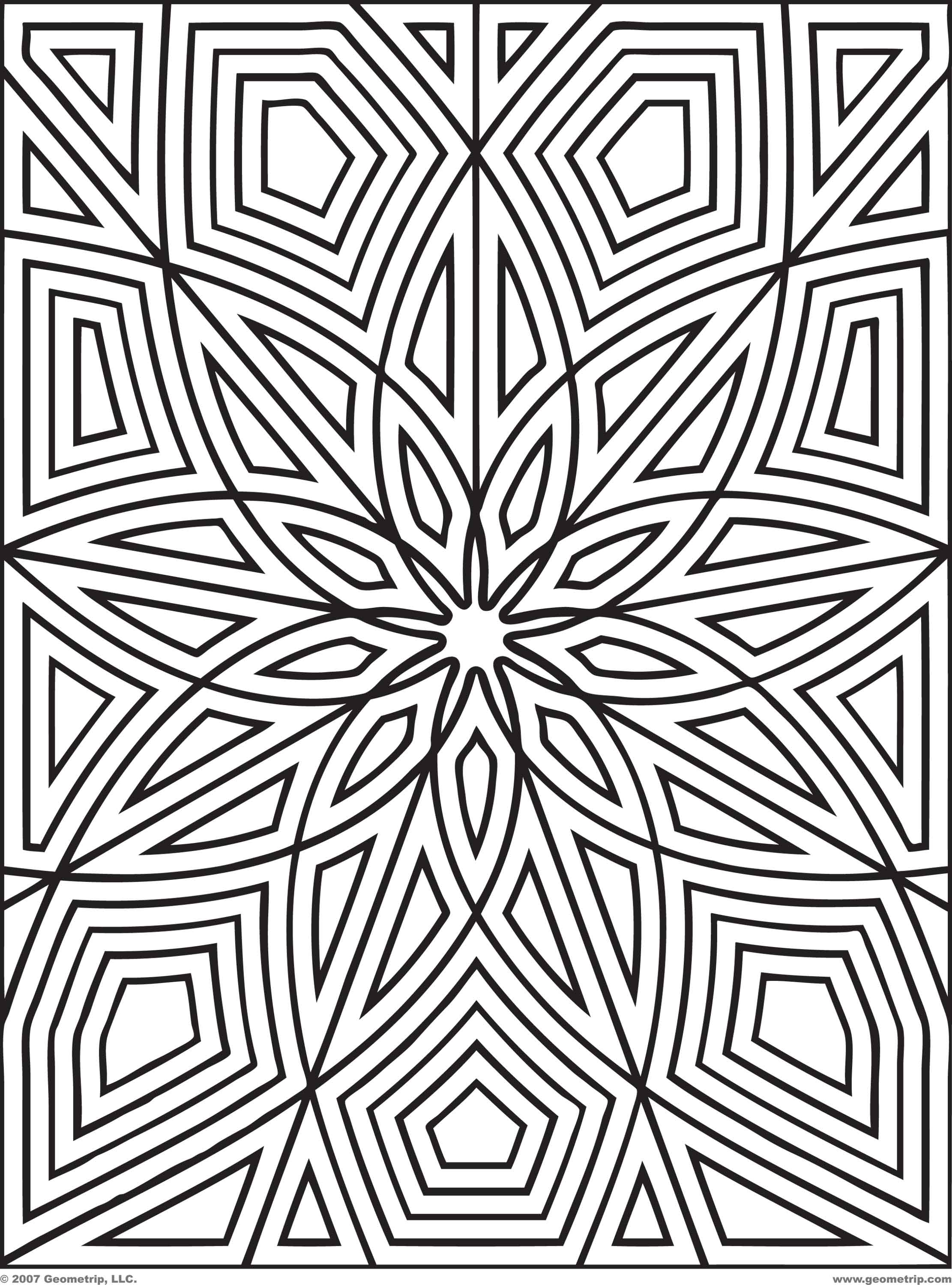 Colouring pages geometric patterns - Geometric Coloring Pages Geometric Coloring Page Easy Geometric