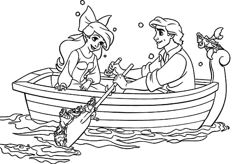 Princess Ariel Is A Boat Ride With Eric Coloring Pages: Princess
