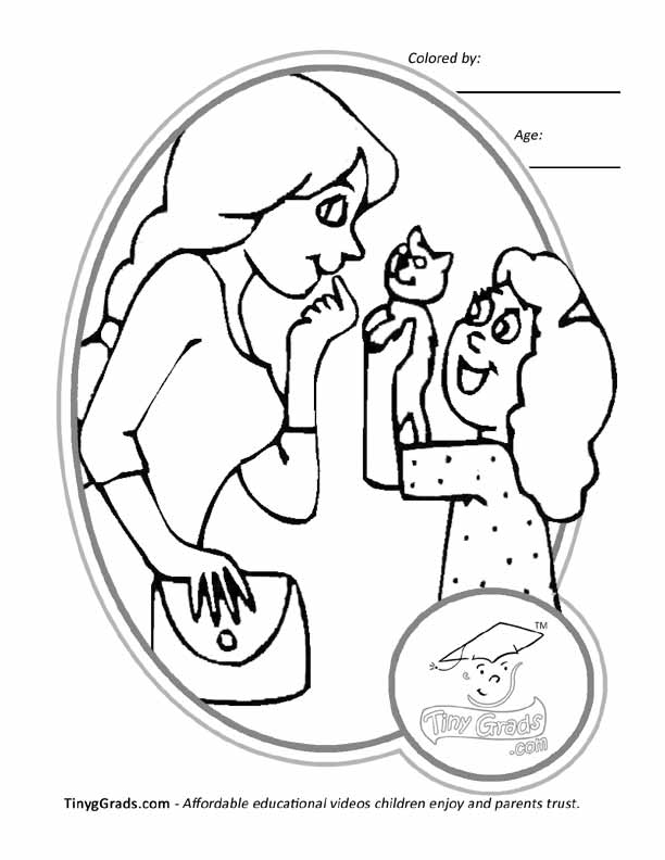 Mum And Daughter Colouring Pages Page 2