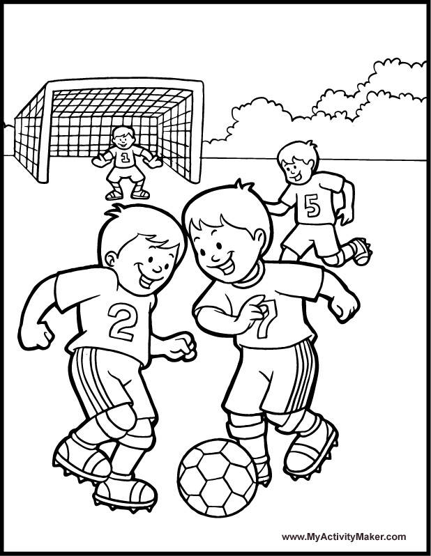 Boy Playing Soccer Drawing Kids Play Soccer Coloring