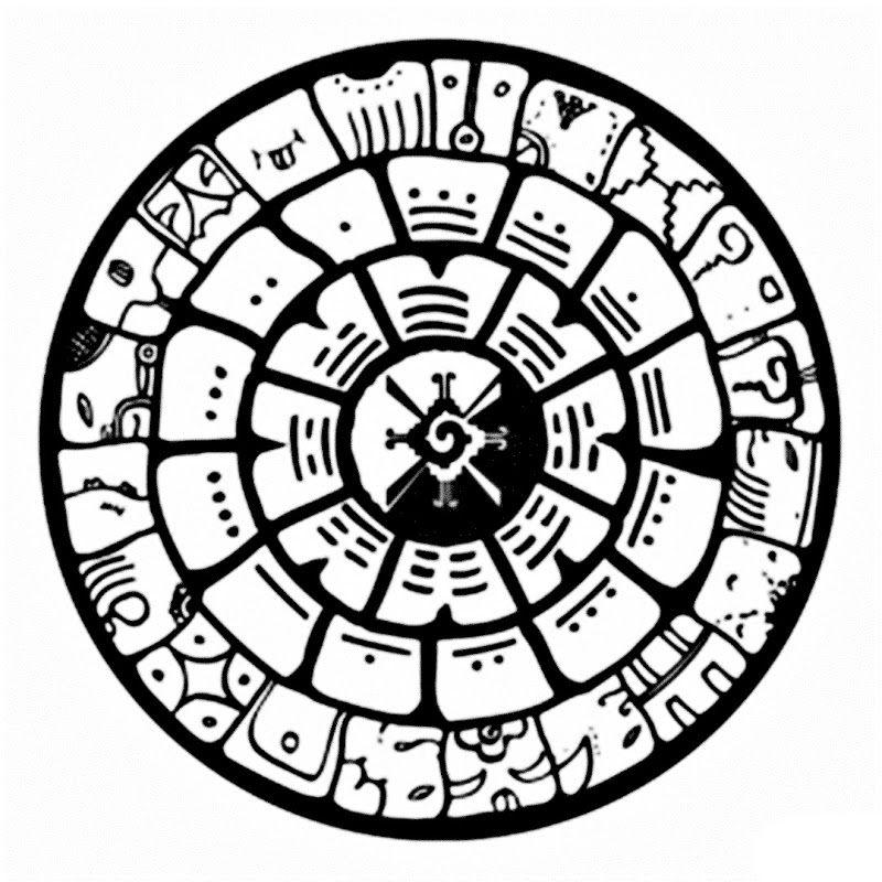 Aztec Calendar Coloring Page  Coloring Home