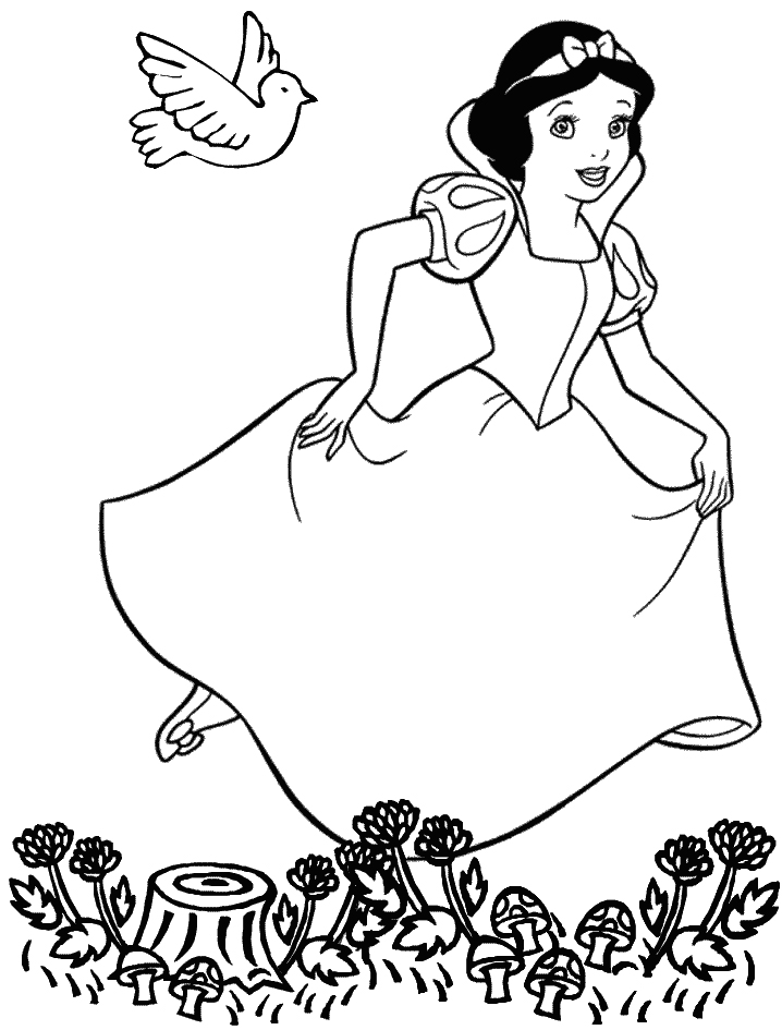 Princess snow white was running rush coloring pages for Snow white coloring pages printable