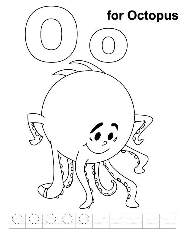 O Octopus Coloring Page O for octopus coloring page