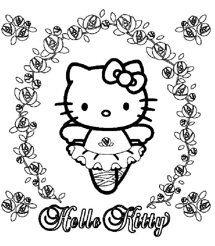 Ballerina Hello Kitty Coloring Page | Kids Coloring Page