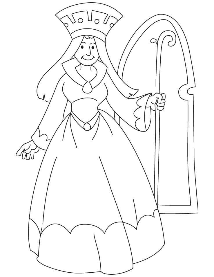 A Queen Holding Scepter Coloring Pages