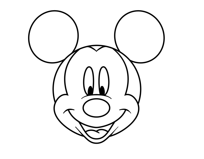 Mickey Mouse Face Coloring Page Cute Mouse Drawing  Clipart