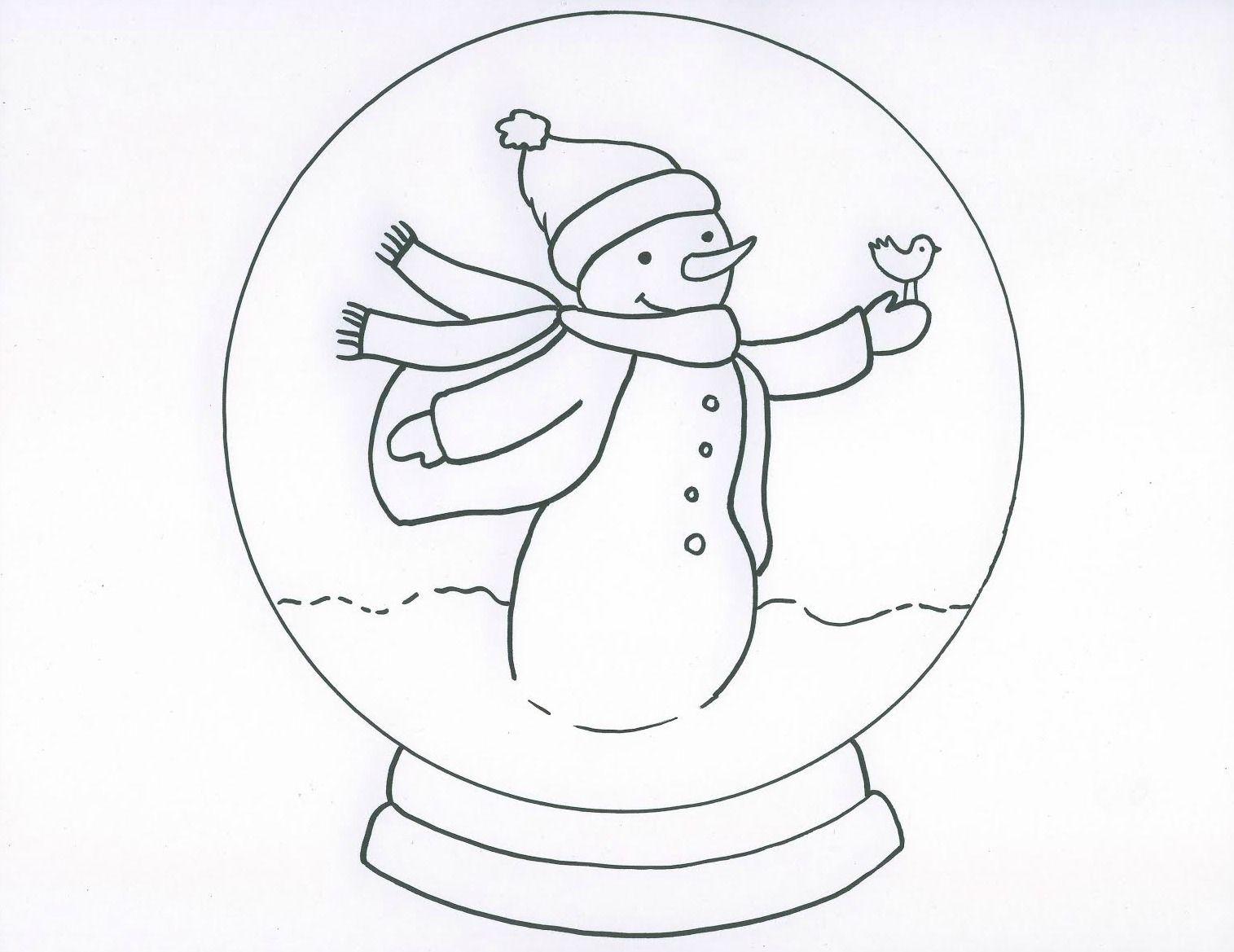 snow globe with snowman coloring page
