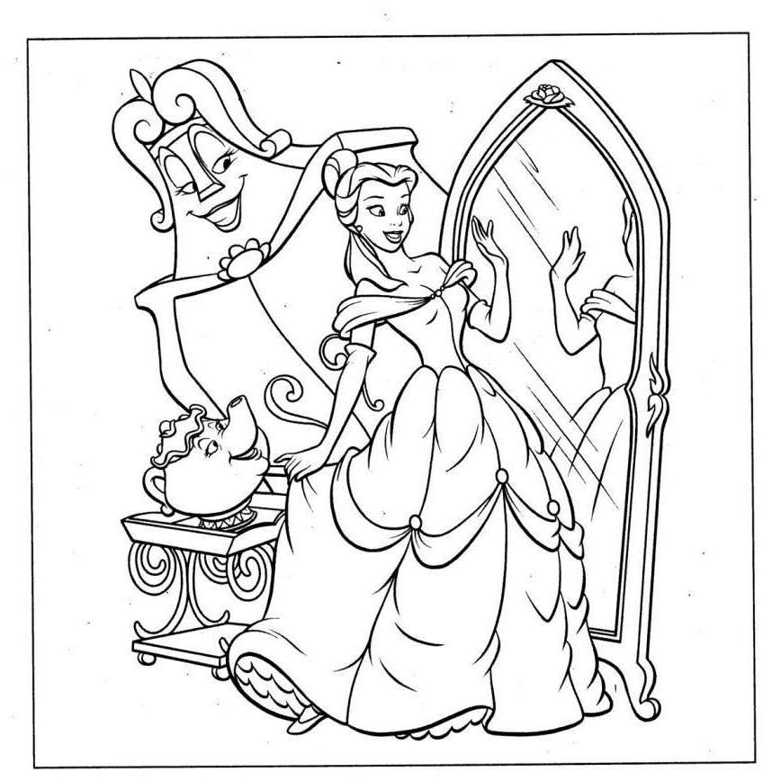 Belle Coloring Pages : Popular Disney Princess Belle Coloring