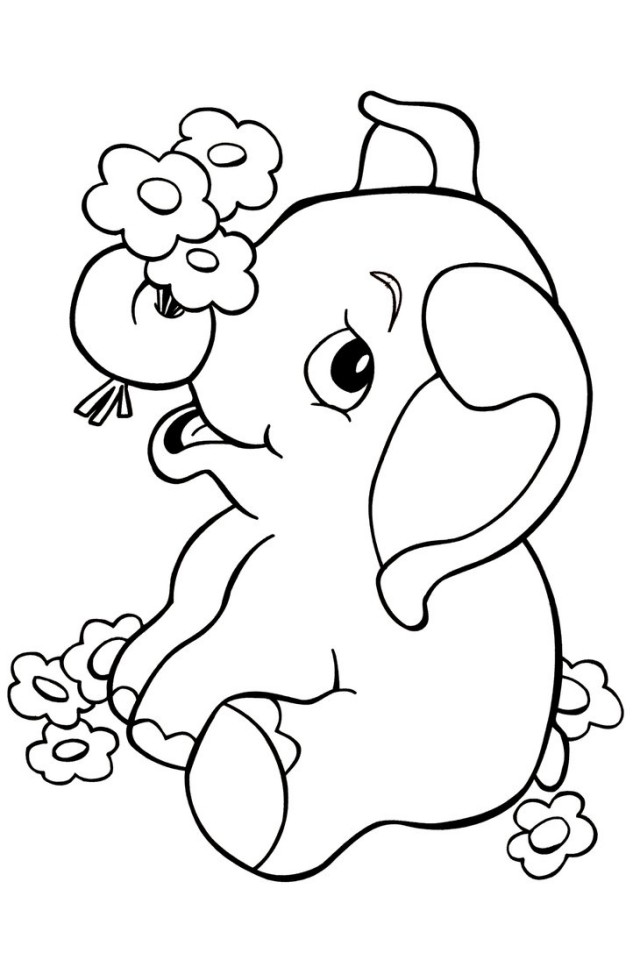 Coloring Book Pages With Elephant : Valentine elephant colouring pages page cute