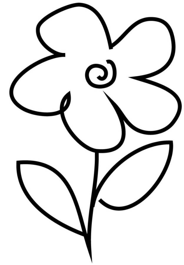 Print Very Simple Flower Coloring Page For Preschool Or Download Coloring Home