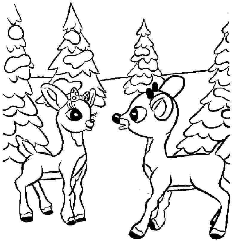 Colouring sheets christmas santa deer printable free for little
