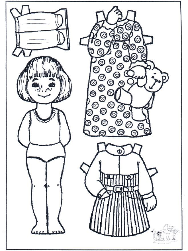 Paper Doll Coloring Pages Coloring Home