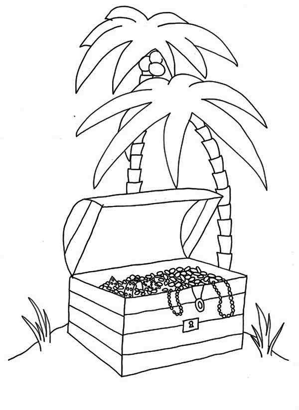An Opened Treasure Chest In Tropical Island Coloring Page An